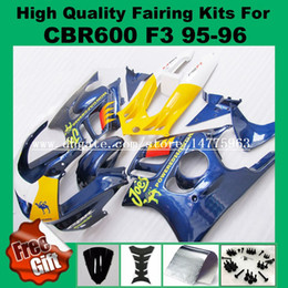 Wholesale 1996 Honda Cbr F3 Fairings - Get 9gifts fairing kit for Honda CBR600 F3 1995 1996 CBR 600 F3 CBR-600 F3 95 96 blue yellow white fairings parts