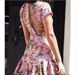 Wholesale Tail Dress Women - Arrived 2017 new women's fashion runway printing beach resort sexy backless wind belt tail beach dress