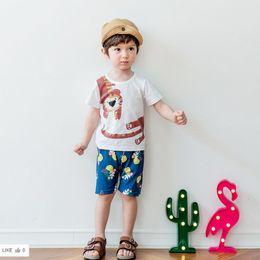 Wholesale Kids Shirt Tiger - Cartoon Boys Clothing Sets Summer Baby Outfits Summer Tiger Tee Shirt Tops + Printed Shorts Korean Cotton Kids Clothes C997