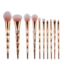 Wholesale Make Up Brushes Gold - 10pcs set Makeup Brush Set Professional Blush Powder Eyebrow Eyeshadow Lip Nose Rose Gold Blending Make Up Brush Cosmetic Tools