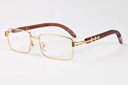 Wholesale Vintage Wood - 2017 New brand Men glasses Vintage wood bamboo gold silver Frame women Brand Designer buffalo horn sun glasses with box
