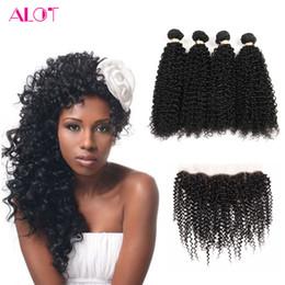 Wholesale Mongolian Kinky Curly Hair 4pcs - Peruvian Virgin Hair with Frontal Kinky Curly Human Hair Weave with Lace Frontal Unprocessed Human Hair Bundles 4Pcs With 13x4 Lace Frontal