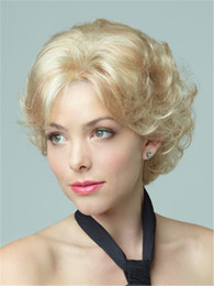 Wholesale short blond wigs - NEW Short light blond curly Heat resistant fiber synthetic wig capless fashion wig for women free shipping