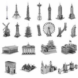 Wholesale Neuschwanstein 3d - Building 3D Metal Puzzle Model Neuschwanstein Tower Bridge Windmill House Metal Earth DIY Jigsaw Puzzle Toy Gifts For Adult Kids