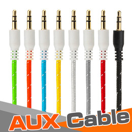 iphone auxiliary cord Australia - Braided AUX 3.5mm Stereo Auxiliary Car Audio Cable Cord Extension 3ft 1M Wired Male to Male For iPhone X 8 iPod iPad MP3 Headphone Speaker