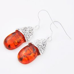 Wholesale Drop Stone Earring - 5pcs 1lot Christmas Jewelry Gift--Lucky Stone Antique Amber 925 Silver Drop Earrings E0047