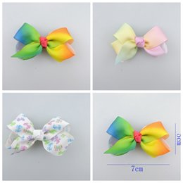 Wholesale Hair Bows Claw Clips - 50pcs Xmas Romantic jojo 7cm Pastel flora ombre Rainbow ribbon hair bows Alligator clips baby girl Dance hair bobbles Accessories HD3479