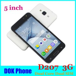 Wholesale Cheap 3g Smartphone Dual Sim - New Version DOK Phone 5 Inch D207 Android Dual Core MTK6572 Smartphone Dual SIM Dual Standby Cheap 3G WCDMA Unlock Mobile Cell Phones
