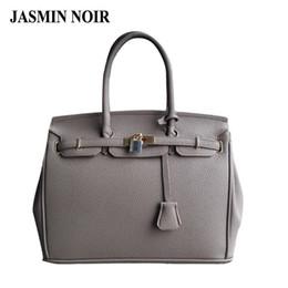 Wholesale Leather Handbags Scarf - Wholesale-Brand designer High quality PU leather handbag with gold lock scarf 30cm 35cm woman bags fashion 2016 designers bolsas femininas