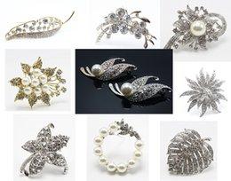 Wholesale Diamante Pearl Brooch - 20pcs Pearl Crystal Diamante Wedding Prom Breast Pin Party Brooch Botton Corsage