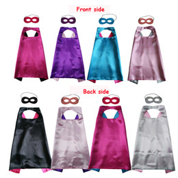 Wholesale Fairy Costumes For Kids - Double layer Cape and Mask with 2 different colors side 70*70cm Capes for Kids Christmas Halloween Cosplay Prop Costumes