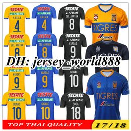Wholesale Top Thai quality Mexico soccer club Tigres UANL Tigers Yellow home Stars GIGNAC Vargas H Ayala SOSA away blue football Shirt