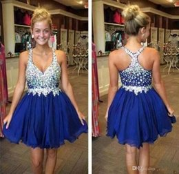 Wholesale Spaghetti Strap Beaded Dress Formal - 2017 Royal Blue Mini Short Homecoming Dresses Crystals Beaded Straps A Line Chiffon Short Cocktail Graduation Formal Party Wear
