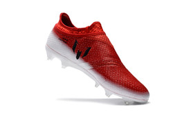 Wholesale Messi Shoes Red - New Messi 16 white black red FG football boots Pureagility Soccer Shoes Mens Cleats Invisible shoelaces
