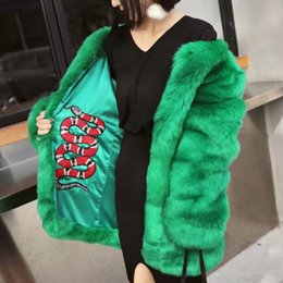 Wholesale Stylish Women Winter Coats - Stylish Snake Embroidery Lined Hairy Shaggy Long Faux Fox Fur Women Long Coat Winter Thick Warm Outerwear Tops femme 3 Colors