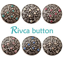 Wholesale Color Rhinestone Jewelry Sets - Wholesale- D02375 6 Color High Quality Charm Rhinestone Styles Alloy Ginger Snap Button Bracelets Woman Rivca Snap Button Jewelry
