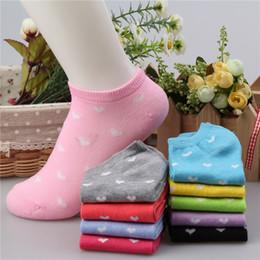 Wholesale Women Hearts Socks - Women socks fashion Korean style Shallow heart shaped Short socks Elastic Breathable Cute socks 10 Colors