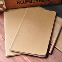 Wholesale Paper Cover Book - cowhide paper notebook blank notepad book vintage soft copybook daily memos Kraft cover journal notebooks