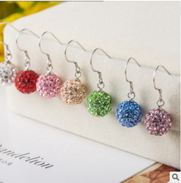 Wholesale shamballa dangle earrings - 100% 925 Silver Fashion Shamballa Crystal Jewelry Sets Ball Bead earrings Earring Jewelry 925 Sterling Silver Plating Women Wedding Jewelry
