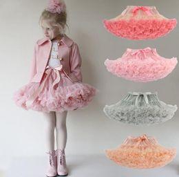 Wholesale Kids Rainbow Gown - 2017 New Baby Girl Tutu Skirt Chiffon Lace Princess Dance Party Pettiskirt Kids Rainbow Candy Floral Silk Ballet Skirts