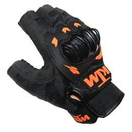 Wholesale Men Leather Sweats - KTM Breathable Sweat Half Finger Motorcycle Gloves Motocross Luvas Guantes Orange Green Colors Protective Gears Glove For Men M XXL