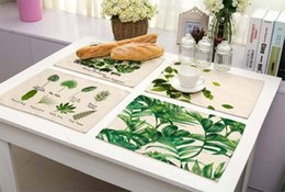 Wholesale Left Western - Green Leaves Pattern Cotton Linen Western Pad Multi Function Heat Insulation Wear Resisting Family Decoration Articles 6 5my J
