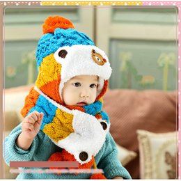 Wholesale Fur Scarf Hat - 2 piece  set hat scarf gloves baby winter cap rabbit knit beanie bonnet warm hats for children neck warmer photography props