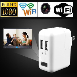 Wholesale Power Holes - 1080P Wifi USB Power Adapter camera EU US UK Plug No Hole Wireless Surveillance charger Hidden Camera Real Wall AC Plug Spy camera