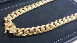 "Wholesale Over 925 Sterling Silver - 26"" Miami Cuban Link Chain 14K Yellow Gold Over 925 Sterling Silver Necklace"