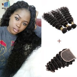Wholesale Chinese Curly - Indian Deep Wave with Closure Color 1B Raw Virgin Indian Brazilian Peruvian Human Hair 3 Bundles With Lace Closure Deep Curly Virgin Hair