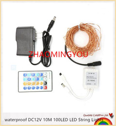Wholesale Flash Solar Control - YON 10Sets LED String Light 10M 100led Copper Wire Fairy Light Outdoor Holiday Light DC 12V For Party Wedding With Remote Control