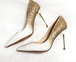 Wholesale America Black Women Wedding Dress - 2017, Europe and America gradually high heels, sequins, wedding shoes, bridesmaids, wedding shoes, crystal shoes free shipping
