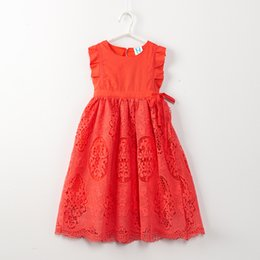 Wholesale Linen Summer Sundresses - Girls Ruffled cuff hollow out Lace dress 2colors kids Linen sundress causal princess dress summer outfits birthday festival for 3-11T