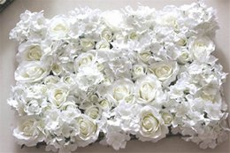Wholesale Led Wedding Backdrop - Wholesale-Free Shipping 10pcs lot IVORY Artificial hydrangea rose flower wall wedding backdrop lawn pillar flower road lead decoration