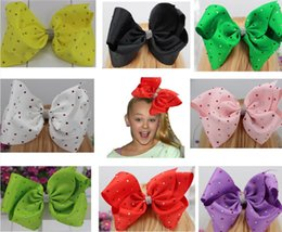 Wholesale Colorful Bow Hair Clips - 8inch Large JOJO hair bow Color Hair Clip With Colorful Rhinestone Hair Bow For Popular Girl Accessories.12pcs\