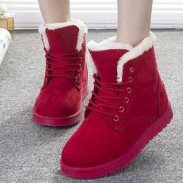 Wholesale Green Flocking - Wholesale-Women Boots Fashion Shoes Women Winter Boots Warm Fur Ankle Boots For Women Winter Shoes Black Red