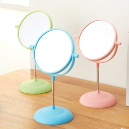 Wholesale Girls Dressers - Hot sale Makeup Mirror Girls 2Side Cosmetic mirror Rotating Stand Table Mirrors Ladies Plastic Dresser Mirrors Women 1pcs