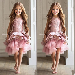 Wholesale Girls Beauty Pageant Dresses Kids - Luxury Lace Rose Pink Lace Flower Girl Dresses 2017 Appliques Ruffles Tiered Kids Beauty Pageant Ball Gowns For Girls Pageant Vestidos