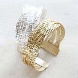 Wholesale Twisted Cuff - Wholesale-Summer Style Twisted Gold plated Bangle Braclets Jewelry Fashion Cuff Bracelets For Women Pulserasa AB068