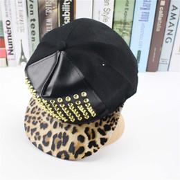 Wholesale Snapback Rivets - Leopard Rivets Baseball Cap Hip Hop Caps Gorras Snapback Hat Pu Leather Trucker Outdoor Sports For Men Women