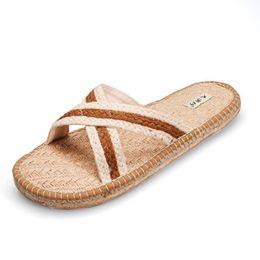 Wholesale Man S Sandals - Men 's Home Flat Sandals Hemp Shoes Sandals Slippers Absorbent Sweat Deodorant