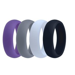 Wholesale Ring Comfortable - Silicone Wedding Ring For Men Hypoallergenic Silicone O-ring Wedding Band Comfortable Fit Lightweight Ring for Men Black White Gray as Gift