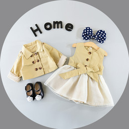 Wholesale Girls Trench Coat Princess - Fashion Girls Clothes set Children Trench Coat +Princess Dresses 2pcs set kids Dress Suits 2017 new boutique outfits Breasted Coat A1201