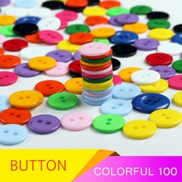 Wholesale 14mm Buttons - Wholesale Color Button Children's Clothing Button Four-hole and two-hole diameter Diameter 14mm and 18mm Boxed 100pcs
