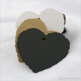Wholesale Heart Lace Paper - 5.5*5.5cm Heart Shape Lace DIY Hang Tag Jewelry Gift Package Label Blank Kraft Paper Luggage Party Wedding Noteds Gift tag