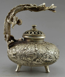 Wholesale Chinese Incense Burner Dragon - Elaborate Old Chinese Tibetan Silver Carved with auspicious lifelike dragon statue incense burner censer