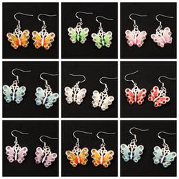 Wholesale Butterfly Jewelry Earrings - Enamel Rhinestone Butterfly Earrings 925 Silver Fish Ear Hook 21pairs lot 7Colors Chandelier Jewelry E1559 22x37mm