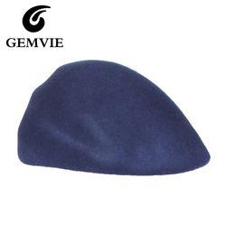 Wholesale Berets Fedoras - Wholesale-100% Pure Wool Women Solid Berets 2016 Autumn Winter Vintage Special Shape Cashmere Fedora Hats 3 Colors