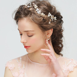 Wholesale Vine Headband - Sweet Wedding Hair Vine Bridal Headpiece Gold Ivory Wedding Headband Hair Accessory Crystal Pearls With Bridal Earrings