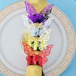 Wholesale papers napkin serviettes - Wholesale- 50pcs lot Butterfly Design Pearlescent Paper Napkin Rings For Wedding Party Serviette Table Decoration Porta Guardanapo